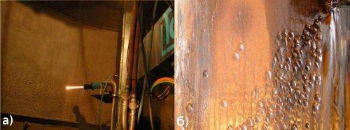 Рис.5 Внутренней поверхности колонн абсорберов: а) коррозионно-эрозионный износ металла абсорберов; б) нанесение покрытия на внутреннюю поверхность абсорбера