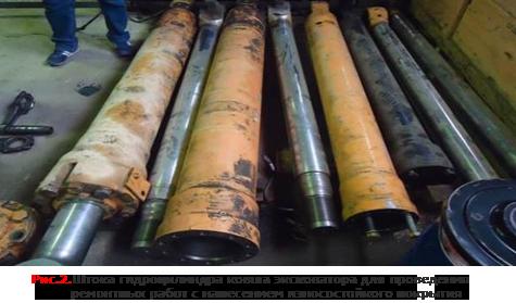 Штока гтдроцилиндра ковша эксковатора для проведения ремонтных работ с нанесением износостойкого покрытия