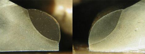 Фотографии шлифа наплавленного слоя выполненного плазменной наплавкой на клапане двигателя внутреннего сгорания